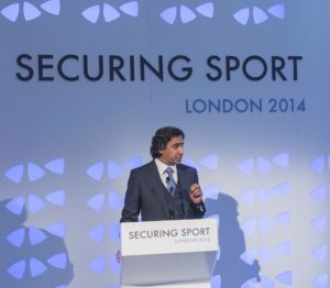 ICSS President Mohammed Hanzab, announcing the UNESCO partnership at Securing Sport 2014