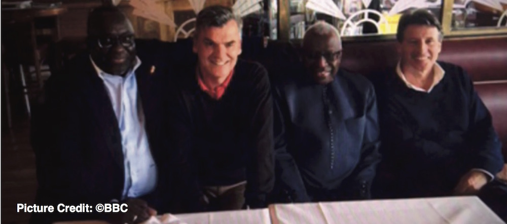 IAAF President Sebastian Coe pictured with the Diacks and Nick Davies