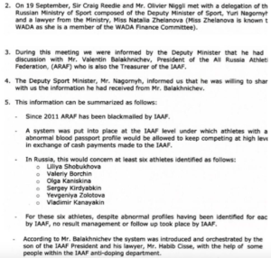 WADA's evidence to the IAAF Ethics Board…